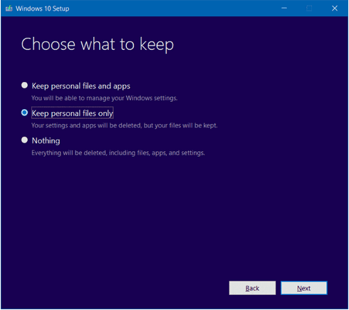 windows 10 keep personal files only