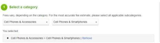 choose category - calculate ebay fee