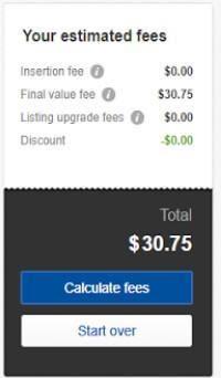 estimated cost - calculate ebay fee