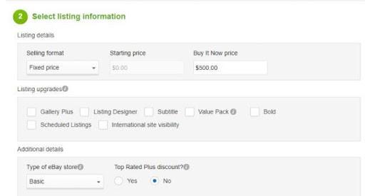 listing information - calculate ebay fee