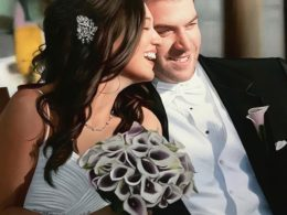 portrait painting of wedding for Valentine's Day gift