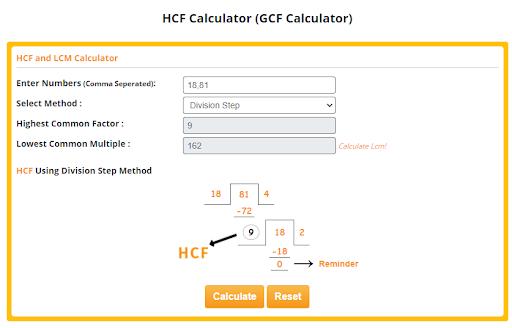 hcf using division step method