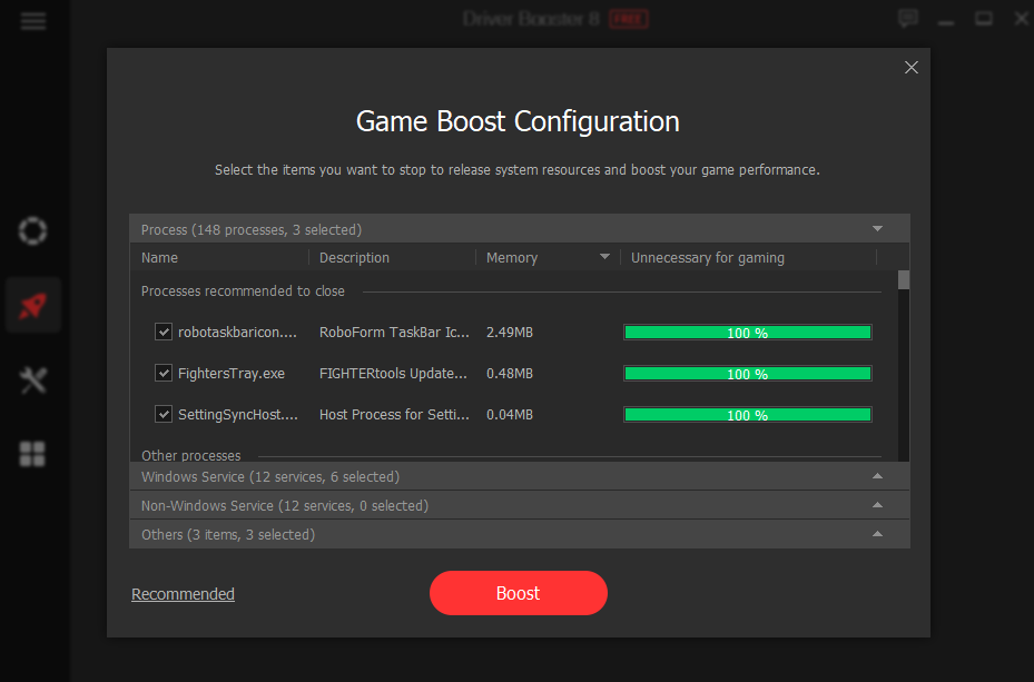 game boost configuration
