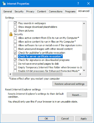 server certificate revocation